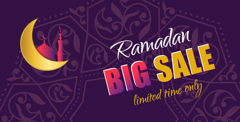 Ramadan Big Sale. Design horizontal web banner with beautiful crescent moon in golden and violet color. Vector Illustration for greeting card, flyer and voucher.