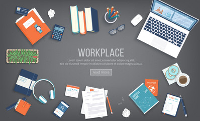 Workplace Desktop background. Top view of black table, laptop, folder, documents, notepad, books, purse, calendar, headphones, calculator, coffee, passport. Place for text. Vector Top view