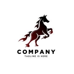fire art standing horse logo