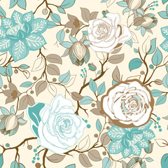 Foto op Aluminium Botanisch Colorful floral pattern. Vector wallpaper with big illustration flowers. Hand drawn plants, roses