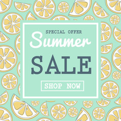 Summer Sale - vintage poster with hand drawn citus fruits. Vector.