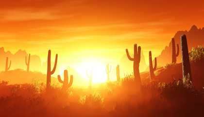 desert at sunset, rocky desert arizona with cacti under the setting sun,  3D rendering