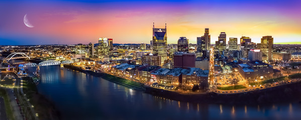 Fototapete - Nashville skyline with moon