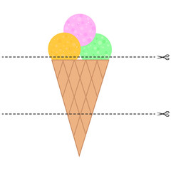 A game for children of preschool age. Cut the picture into pieces. Fold in the right order. Mosaic. ice cream cone