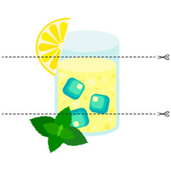 A game for children of preschool age. Cut the picture into pieces. Fold in the right order. Mosaic. lemon mint cocktail, glass, ice
