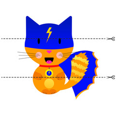 A game for children of preschool age. Cut the picture into pieces. Fold in the right order. Mosaic. cat super hero