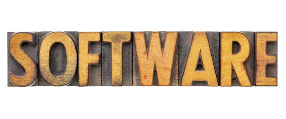 software word in letterpress type