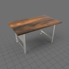 Wooden table with metal base
