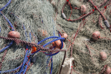 Fishing net on the beach, close up view
