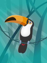 toucan in jungle clipart