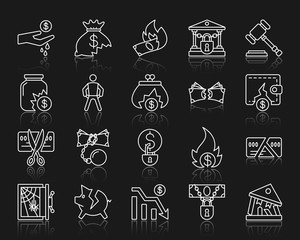 Bankruptcy simple white line icons vector set