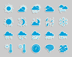Weather patch sticker icons vector set