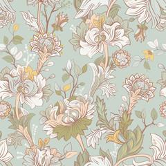 Fotobehang Botanisch Gentle seamless pattern with large decorative peonies. Vector floral wallpaper