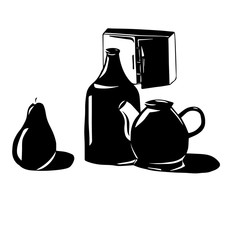 Abstract still life Bottles, a kettle and a pear on the background of a hinged kitchen cupboard. black and white