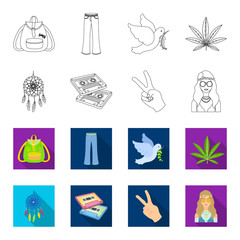 Amulet, hippie girl, freedom sign, old cassette.Hippy set collection icons in outline,flat style vector symbol stock illustration web.