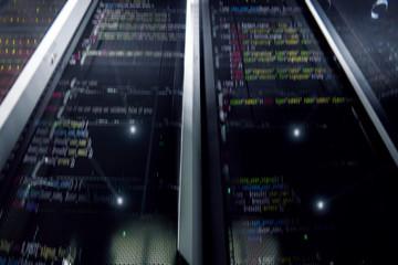 Servers close up bottom view. Server. Modern data center. Cloud computing. Super Mining farm. Supercomputer.
