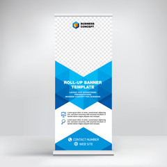 Roll-up banner template, advertising stand design. Layout for seminars, presentations, conferences, promotions, placement of photos and text, creative geometric background