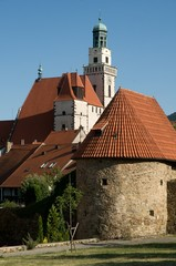 Historic city fortifications and church St. Jacob the Greater in the town Prachatice in southern Bohemia, Czech republic, Europe,