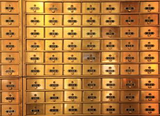 Antique Brass Postal Mail Boxes or Bank Safe Deposit Boxes