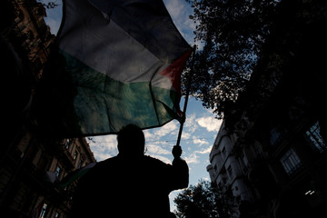 A pro-Palestinian demonstrator waves a flag during a protest against the U.S. embassy move to Jerusalem, near the Israeli embassy in Buenos Aires