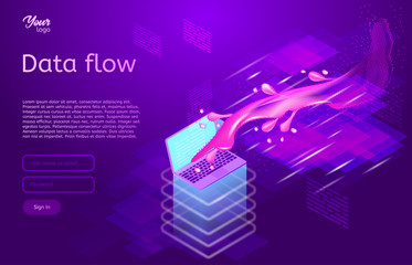 Data flow design concept. Isometric vector illustration of data movement in ultraviolet colors. Information and computer technologies.