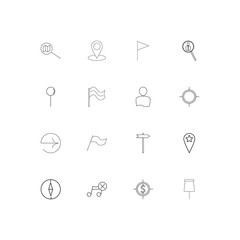 Maps And Navigation linear thin icons set. Outlined simple vector icons