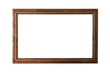 Wooden frame isolated on white background