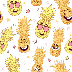 Fun pineapple faces seamless repeat pattern. Great for tropical summer theme wallpaper, backgrounds, packaging, fabric, scrapbooking, and giftwrap projects. Surface pattern design.