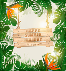Summer holiday background with exotic palm leaves and wooden sign. Vector