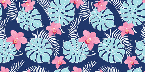 Tropical orchid flowers seamless repeat pattern. Great for summer exotic wallpaper, backgrounds, packaging, fabric, and giftwrap projects. Surface pattern design.