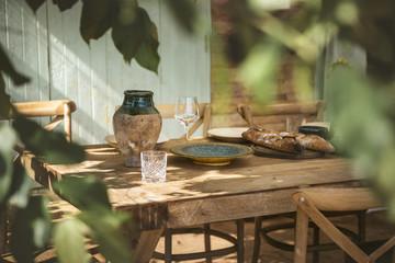 Table set for dinner at the veranda