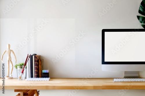 Artist Workspace Desktop Computer And Copy Space