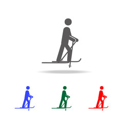 Skiing icon. Elements of winter in multi colored icons. Premium quality graphic design icon. Simple icon for websites, web design, mobile app, info graphics