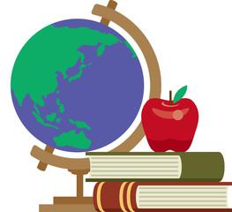 知恵と知識のイメージ 地球儀とリンゴと本