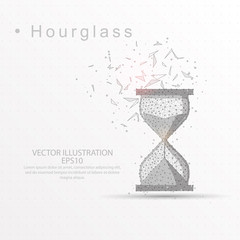 Hourglass digitally drawn low poly wire frame on white background.