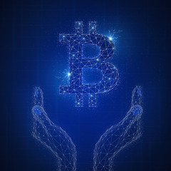 Blockchain technology on futuristic hud background with glowing polygon bitcoin, hands and blockchain peer to peer network. Global cryptocurrency blockchain business banner concept.