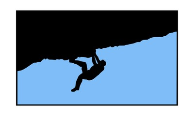 picture of the silhouette of a man climbing without a rope