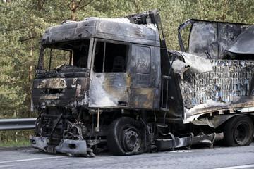 Burned truck in a roadside