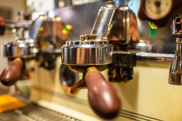 Close-up of espresso coffee machine. Professional coffee brewing