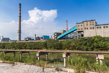large steel factory,cooling tower at an industrial enterprise, north china