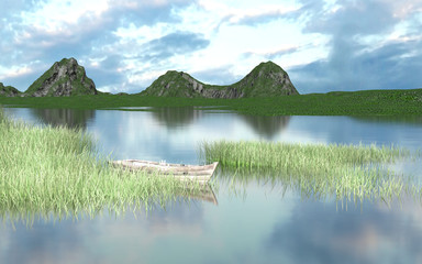 A boat on the lake at the edge of a mountain. This is a 3d render illustration
