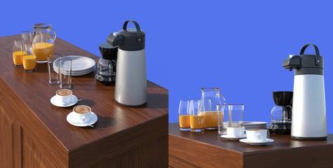 コーヒーブレイク 青背景