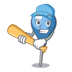 Playing baseball clyster character cartoon style