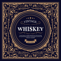Whiskey Label design retro vector vintage illustration
