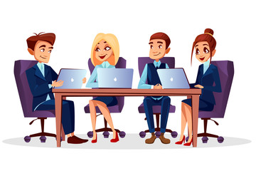 Vector cartoon business people sitting at desk with laptops communicating at brainstorming, meeting or conference. Teamwork, teambuilding concept. Happy men, women characters, managers office workers