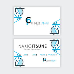 Simple Business Card with initial letter CP rounded edges with a blue and gray corner decoration.