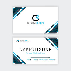 Simple Business Card with initial letter CS rounded edges with a blue and gray corner decoration.