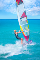 Female windsurfer in the sea - Cesme , izmir