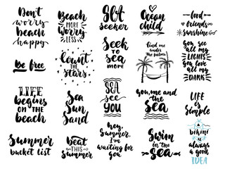 Hand drawn seasons set of lettering phrase about Summer holiday isolated on the white background. Fun brush ink vector illustration for banners, greeting card, photo overlays.
