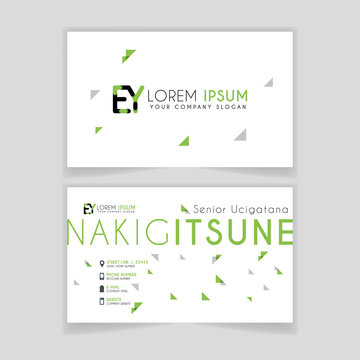 Simple Business Card with initial letter EY rounded edges with green accents as decoration.